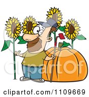 Clipart Green Thumb Farmer With Sunflowers And A Giant Pumpkin Royalty Free Vector Illustration by toonaday