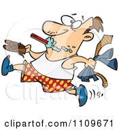 Clipart Rushed Man Brushing His Teeth And Trying To Get Dressed Royalty Free Vector Illustration by Ron Leishman