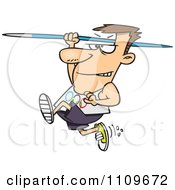 Clipart Olympics Track And Field Javelin Thrower Man Royalty Free Vector Illustration by toonaday