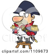 Clipart Short Captain Standing On A Stool Royalty Free Vector Illustration