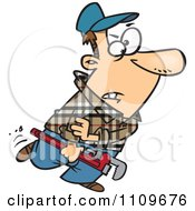 Plumber Carrying A Wrench And Rolling Up His Sleeves