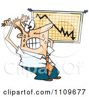 Clipart Stressed Business Man Viewing A Recession Chart Royalty Free Vector Illustration