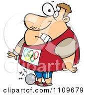 Clipart Olympic Track And Field Shotput Athlete Man Dropping The Ball On His Foot Royalty Free Vector Illustration by toonaday