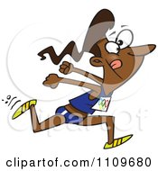 Clipart Black Track And Field Woman Sprinting Royalty Free Vector Illustration