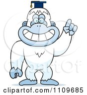 Clipart Yeti Abominable Snowman Monkey Professor Wearing A Cap- Royalty Free Vector Illustration
