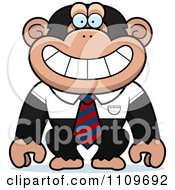 Clipart Chimpanzee Wearing A Tie And Shirt Royalty Free Vector Illustration