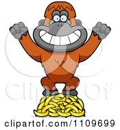 Orangutan Monkey Standing On Bananas