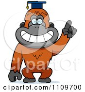 Clipart Orangutan Monkey Professor Wearing A Cap Royalty Free Vector Illustration by Cory Thoman