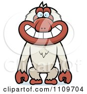 Clipart Grinning Macaque Monkey Royalty Free Vector Illustration