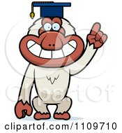 Clipart Macaque Monkey Professor Wearing A Cap Royalty Free Vector Illustration by Cory Thoman