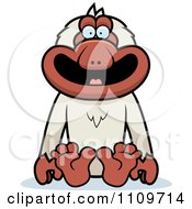Clipart Macaque Monkey Sitting Royalty Free Vector Illustration by Cory Thoman