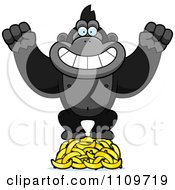 Clipart Gorilla Standing On Bananas Royalty Free Vector Illustration