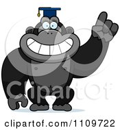 Clipart Gorilla Professor Wearing A Cap Royalty Free Vector Illustration by Cory Thoman