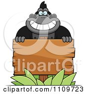 Clipart Gorilla Behind A Wooden Sign Royalty Free Vector Illustration by Cory Thoman