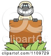 Clipart Gibbon Monkey Behind A Wooden Sign Royalty Free Vector Illustration by Cory Thoman