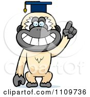 Clipart Gibbon Monkey Professor Wearing A Cap Royalty Free Vector Illustration by Cory Thoman