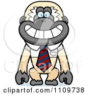 Clipart Gibbon Monkey Wearing A Tie And Shirt Royalty Free Vector Illustration