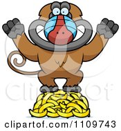 Clipart Baboon Monkey Standing On A Hoard Of Bananas Royalty Free Vector Illustration by Cory Thoman