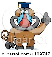 Clipart Baboon Monkey Wearing A Graduation Cap And Holding A Finger Up Royalty Free Vector Illustration by Cory Thoman