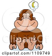 Clipart Bigfoot Sasquatch Daydreaming Of Bananas Royalty Free Vector Illustration