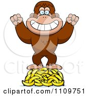 Clipart Bigfoot Sasquatch Hoarding Bananas Royalty Free Vector Illustration