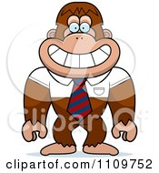 Clipart Bigfoot Sasquatch Wearing A Tie And Shirt Royalty Free Vector Illustration by Cory Thoman