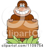 Clipart Bigfoot Sasquatch With A Wooden Sign Royalty Free Vector Illustration by Cory Thoman