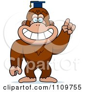 Clipart Bigfoot Sasquatch Professor Wearing A Cap Royalty Free Vector Illustration