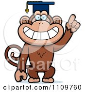 Clipart Monkey Professor Wearing A Cap Royalty Free Vector Illustration by Cory Thoman