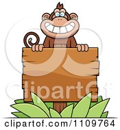 Clipart Monkey Behind A Wood Sign Royalty Free Vector Illustration by Cory Thoman