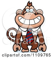 Clipart Monkey Wearing A Tie And Shirt Royalty Free Vector Illustration by Cory Thoman