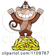 Clipart Monkey Standing On Bananas Royalty Free Vector Illustration
