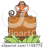 Clipart Proboscis Monkey Behind A Wooden Sign Royalty Free Vector Illustration by Cory Thoman
