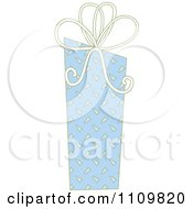 Clipart Blue Patterned Gift Box With A Bow Royalty Free Vector Illustration