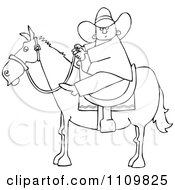 Outlined Cartoon Cowboy Holding The Reins While On Horseback