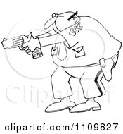Clipart Outlined Cartoon Police Officer Aiming His Gun Royalty Free Vector Illustration by djart