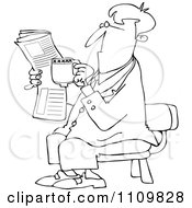 Clipart Outlined Cartoon Businessman Sitting With Coffee And A Newspaper Royalty Free Vector Illustration