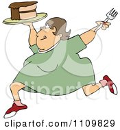 Clipart Cartoon Happy Fat Woman Running With Cake Royalty Free Vector Illustration
