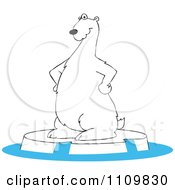Cartoon Polar Bear Standing On An Ice Berg