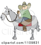 Cartoon Cowboy Holding The Reins While On Horseback
