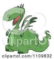 Clipart Cartoon Happy Green Dragon Grinning Royalty Free Vector Illustration by djart