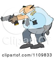 Clipart Cartoon White Male Police Officer Aiming His Gun Royalty Free Vector Illustration