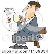 Clipart Cartoon Businessman Sitting With Coffee And A Newspaper Royalty Free Vector Illustration