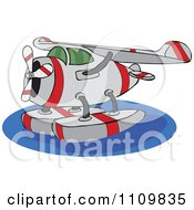 Clipart Cartoon Seaplane On Water Royalty Free Vector Illustration