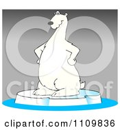 Clipart Cartoon Polar Bear Standing On Ice Over Gray Royalty Free Illustration by djart