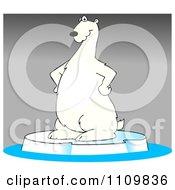 Clipart Cartoon Polar Bear Standing On Ice Over Gray Royalty Free Illustration by djart