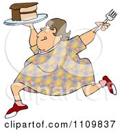 Clipart Cartoon Happy Obese Woman Running With Cake Royalty Free Illustration by djart