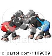 Clipart Athletic Gorillas Wrestling Royalty Free Vector Illustration