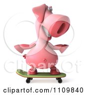 Clipart 3d Pookie Pig Skateboarding 1 Royalty Free CGI Illustration