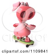 Clipart 3d Pookie Pig Skateboarding 2 Royalty Free CGI Illustration